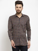 A-Okay Men Checkered Casual Yellow Shirt