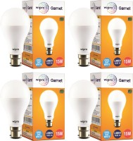 Wipro 15 W Standard B22 LED Bulb(White, Pack of 4)