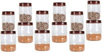 Milton Hexa Pet Jar  - 1400 ml, 500 ml Plastic Spice Container(Pack of 12, Clear, Brown)