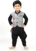 Digimart Boys Festive & Party Kurta, Waistcoat and Breeches Set(Black Pack of 1)