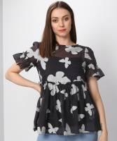 Vero Moda Casual Half Sleeve Printed Women Black Top