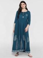 Divastri Women Embroidered Flared Kurta(Blue)