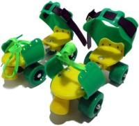 Luximal Colorful Skating For Kids With Front Breaks Quad Roller Skates - Size Adjustable  UK(Green)
