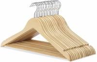 Sauran Wooden Pack of 12 Cloth Hangers(Yellow)