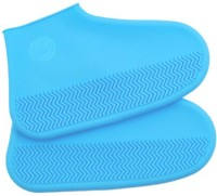tryokart Non-Slip Waterproof Silicone high-Tops Shoe Covers Silicone blue Flat Shoe Cover, Boots Shoe Cover, Toes Shoe Cover, High Heeled Shoe Cover, High Ankle Shoe Cover(Freesize Pack of 2)