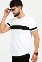 Aelomart Solid Men Round Neck White, Black T-Shirt
