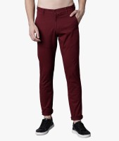 Highlander Slim Fit Men Maroon Trousers