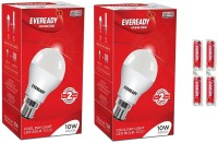 Eveready 10W LED Bulb Pack of 2 with Free 4 Batteries(White, Pack of 2)