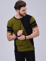 Wrath Color Block Men Round Neck Green, Black T-Shirt