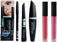 Sah&Shi Eyebrow Pencil (Mac 3 in1) & 2 Piece Lipstick(Set of 5)