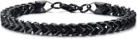 NAKABH Stainless Steel Black Silver Bracelet