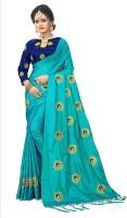 Jiyan Fashion Retail Embroidered Fashion Poly Silk Saree(Light Blue)