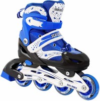 Authfort Inline Skates Size Adjustable All Pure PU Wheels it has Aluminum-Alloy which is Strong with LED Flash Light on Wheels In-line Skates In-line Skates - Size 7-10 UK(Blue)