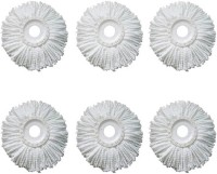 KitchenFest 6 Piece Replacement Mop Micro Head Refill For 360° Spin Magic Mop Round Shape Standard Size Refill(White)