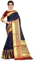 Kuki Woven Kanjivaram Art Silk, Cotton Silk Saree(Blue)