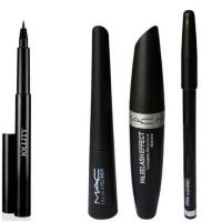 Jollity Kajal Pencil & Liquid EyeLiner & Mac Mascara & Mac Eyebrow Pencil(Set of 4)