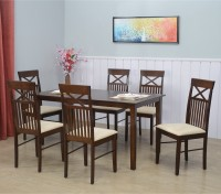 Nilkamal Paula Solid Wood 6 Seater Dining Set(Finish Color - Walnut)