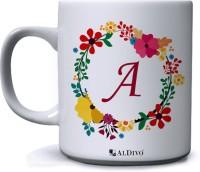 alDivo Gift Alphabet Designed Letter A Printed Ceramic Coffee Mug(350 ml)