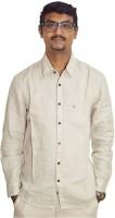 Weaver Men Solid Casual Beige Shirt