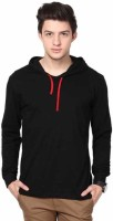 Yes'No Solid Men Hooded Neck Black T-Shirt