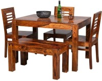 Suncrown Furniture Sheesham Wood Solid Wood 4 Seater Dining Set(Finish Color - Teak Finish)