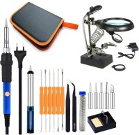Corslet Soldering Iron Kit Set with Helping Hand Magnifying 5 Led Auxiliary Clamp 60 W Temperature Controlled(Round Tip)