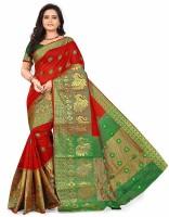 S.B Creation Self Design Banarasi Cotton Saree(Red, Green)