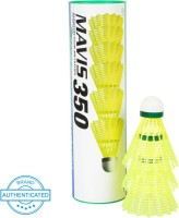 Yonex MAVIS 350 - Green Cap Nylon Shuttle  - Yellow(Slow, 75, Pack of 6)