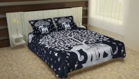 Tansa 160 TC Cotton Double King Animal Bedsheet(Pack of 1, Black & White)