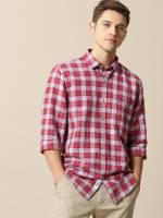 Mr Bowerbird Men Checkered Casual Red Shirt