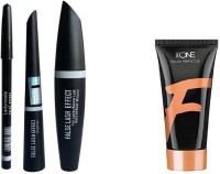 Ladymode Eyebrow Pencil & MAC 3in1 & Oriflame Sweden Very Me Peach me Foundation -Light shade Foundation(Set of 4)