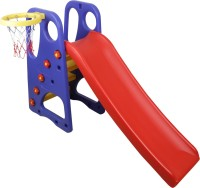 NHR Colorful 2 IN 1 Junior Plastic Garden Slide with Basketball Ring for Kids/ Toddlers/ Preschoolers(Multicolor)