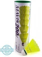 Yonex Mavis 200i Green Cap Nylon Shuttle  - Yellow(Slow, 75, Pack of 6)