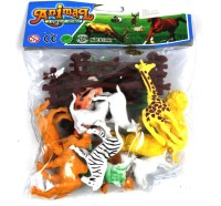 Toyswala Mini Jungle Animal Toys Figure Playing Set for Kids (Pack of 12)(Multicolor)