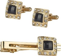 Shining Jewel Brass Cufflink & Tie Pin Set(Gold)