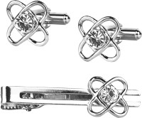 Shining Jewel Brass Cufflink & Tie Pin Set(Silver)
