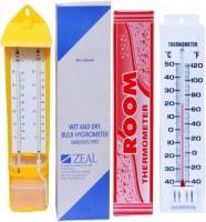 ACROMEC Analogue Hygrometer + Thermometer Wet & Dry Zeal Bulb Hygrometer Temperature Gauge Meter Tester All-in-One Analog Moisture Meter Thermometer(Yellow, White)