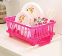 Floraware 3 in 1 Large Sink Set Dish Rack Drainer with Tray for Kitchen,Dish Rack Organizers, Pink Plastic Kitchen Rack(Pink)