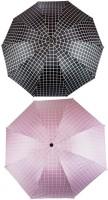 KEKEMI UMB017C_05 3 Fold Check Windproof Travel Umbrella(Multicolor)