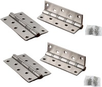 Metcraft Stainless Steel Bearing Door Hinges 5 Inch with Screws pack of 4 Butt/Mortise Hinge(Silver Pack of 4)