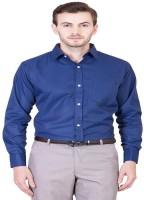 JMDE Men Solid Formal Blue Shirt