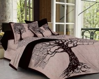 BHOOMI TEXTILES 180 TC Cotton Double King Printed Bedsheet(Pack of 1, Black 03)