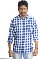 Weaver Men Checkered Casual Blue Shirt