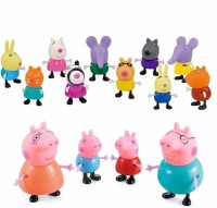 iDream Peppa Pig Family & Friends Toy Set (Pack of 14)(Multicolor)