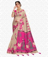 Divastri Printed, Animal Print, Embellished, Self Design Fashion Cotton Blend, Khadi Silk Saree(Pink, Beige)