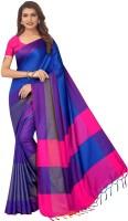 vinayak trendz Printed Mysore Art Silk, Cotton Silk Saree(Dark Blue)