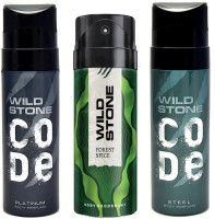 Wild Stone CODE PLATINUM DEODORANT 120ml + FOREST SPICE DEODORANT 150ml + CODE STEAL DEODORANT 120ml Deodorant Spray  -  For Men(120 ml, Pack of 3)