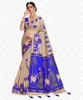 Divastri Printed, Animal Print, Embellished, Self Design Fashion Cotton Blend, Khadi Silk Saree(Blue, Beige)