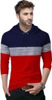 Tripr Striped Men Hooded Neck Dark Blue, Red T-Shirt
