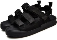 Mr.SHOES Men Black Sports Sandals